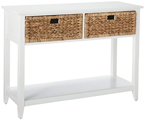 half off 282de fc829 Major-Q Console Table with 2 Drawers and Open Storage for  Dining/Kitchen/Living Room, Rectangular, Wood Rustic and White Finish, 44 x  16 x 28