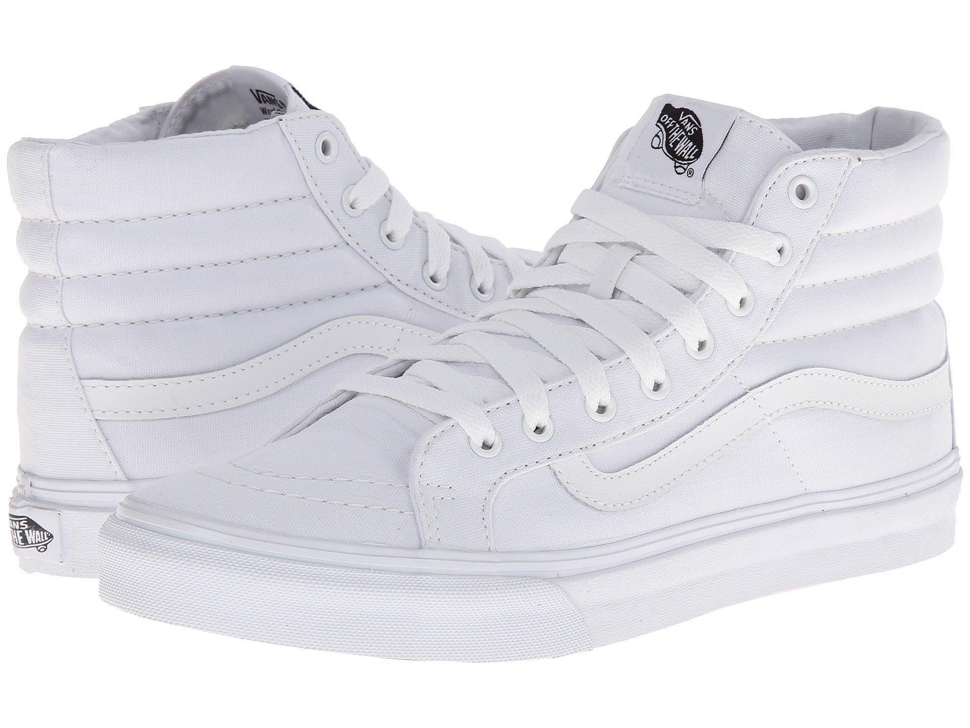 Vans Mens Sk8-Hi Slim Hight Top Lace up Skateboarding Shoes (8.5 B(M) US Women/7 D(M) US Men, True White)