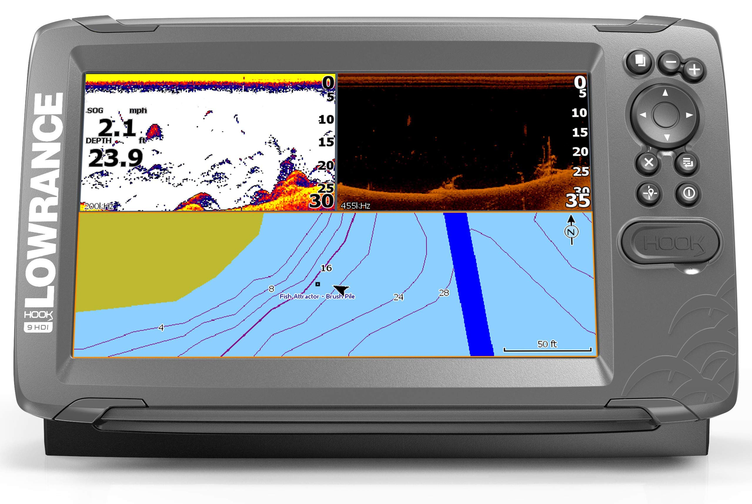 Lowrance HOOK2 9 - 9-inch Fish Finder with SplitShot Transducer and US Inland Lake Maps Installed ... by Lowrance