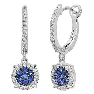 Naava Women's Diamond and Sapphire 9 ct Yellow Gold Earrings 3jDOFy