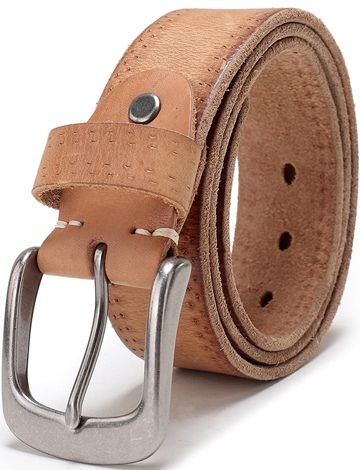 Men's Full Grain 1 1/2 Wide Leather Bridle Belt with Anti-Scratch Vintage Buckle