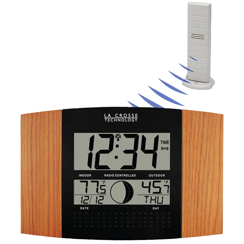 Amazon la crosse technology ws 8117u it oak atomic wall clock amazon la crosse technology ws 8117u it oak atomic wall clock with outdoor temperature home kitchen amipublicfo Gallery