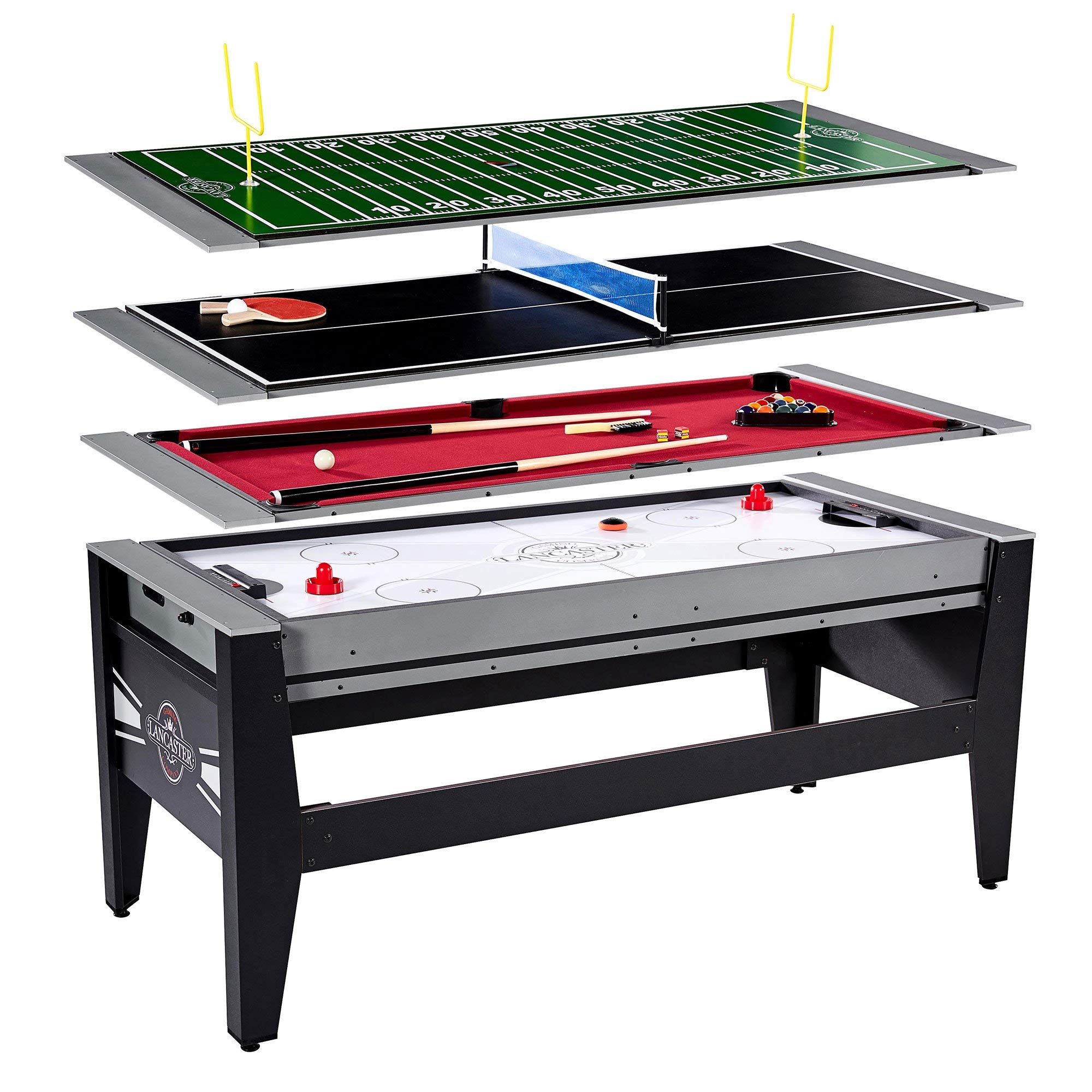 Lancaster Gaming 4 in 1 Table w/ Air Hockey, Billiards, Table Tennis, & Football by Lancaster Gaming Company