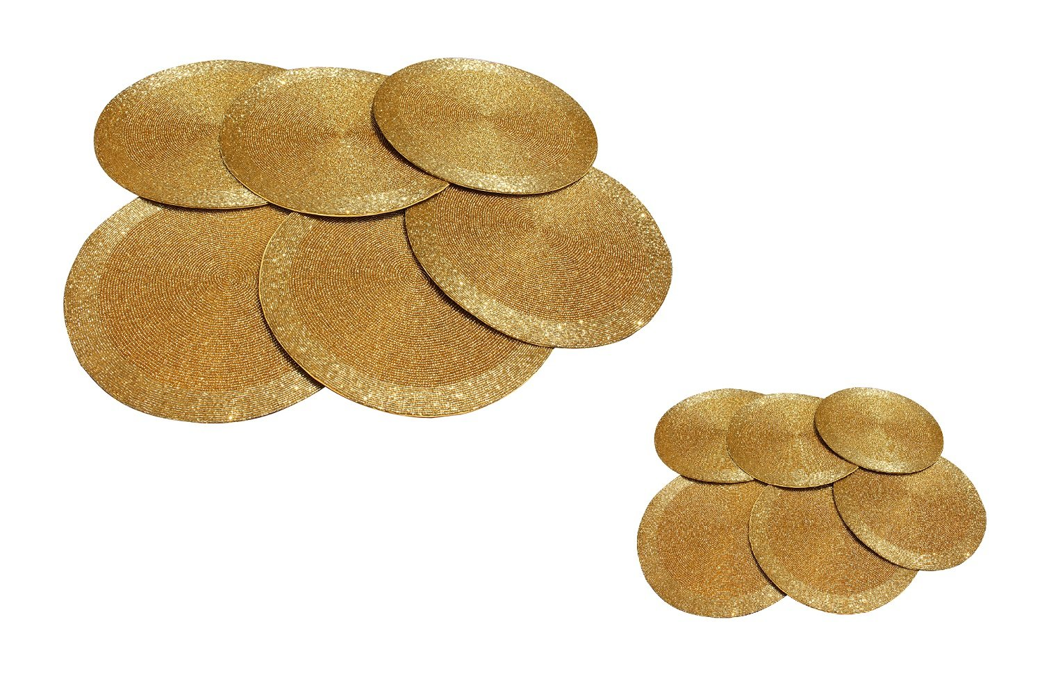 Gold Finish Glass Beads Braided Decor Round Tabletop Placemats and Coasters Set of 12 by GARIAN