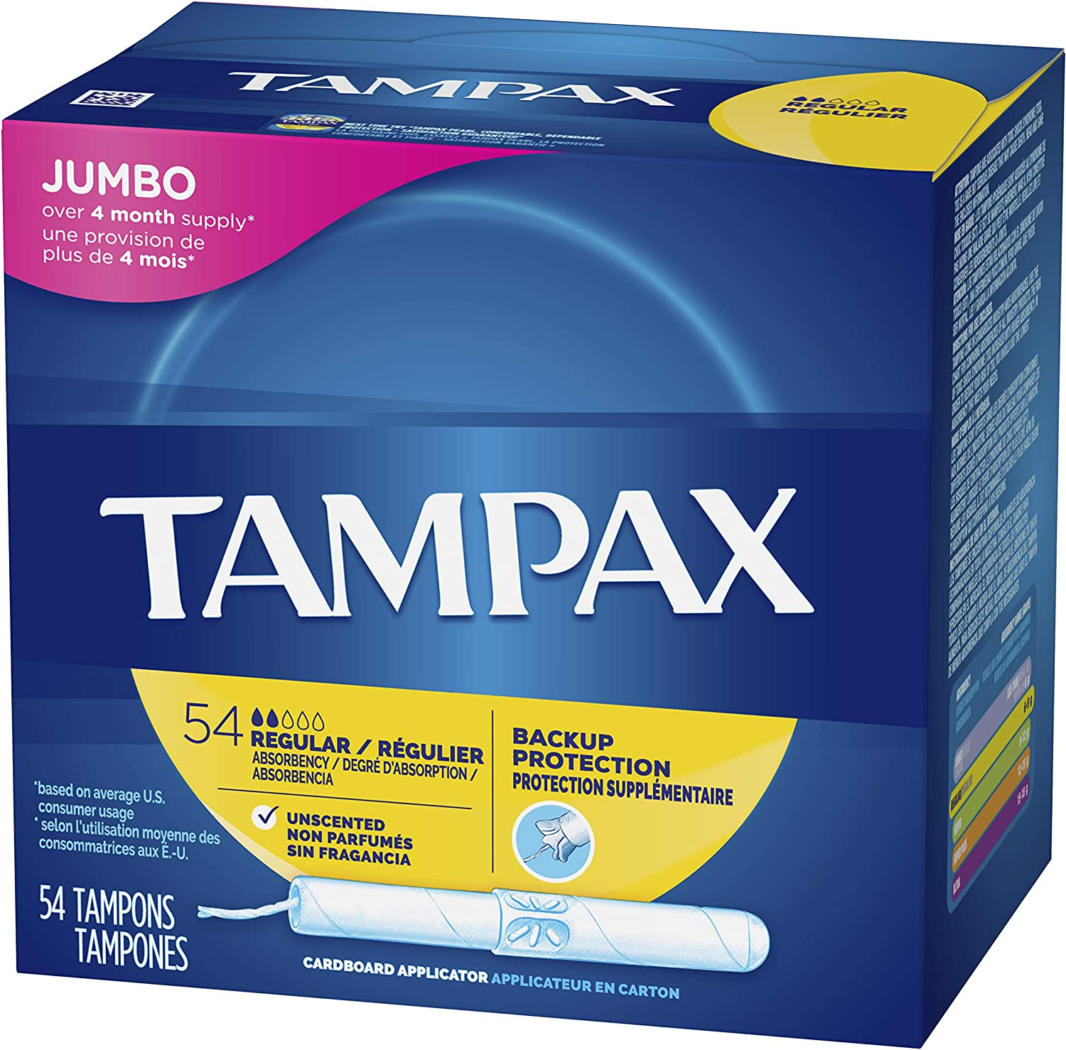 Tampax Cardboard Applicator Tampons, Regular Absorbency, 54 Count - Pack of 2 (108 Total Count): Health & Personal Care