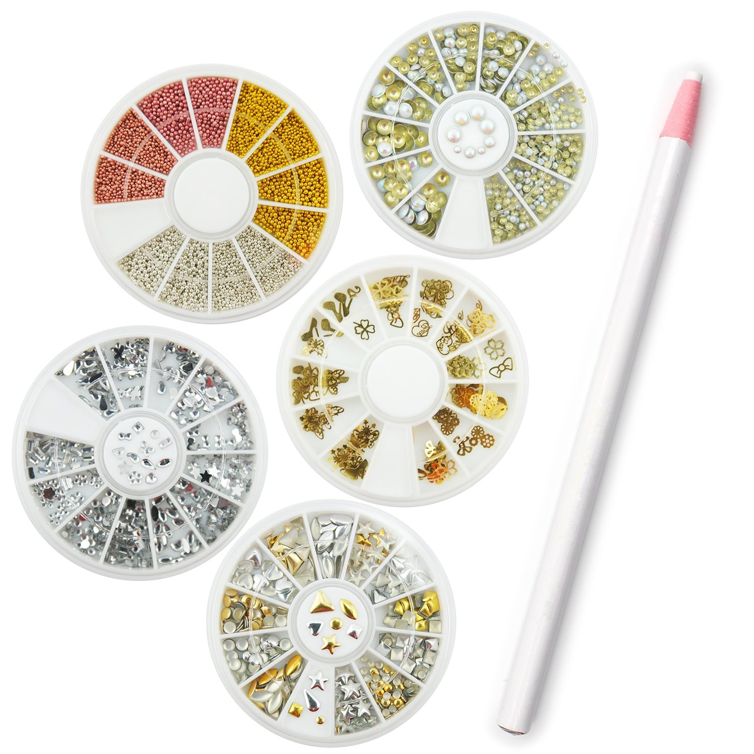 Coscelia Nail Art Rhinestones Gems Picking Crystal Tool Wax Pencil Pen Varied Colors of Rhinestones
