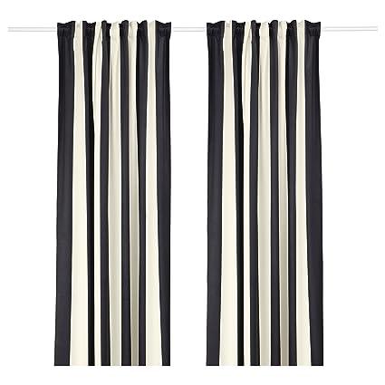 Amazon.com: IKEA OMEDELBAR Modern Stylish Curtains Black ...