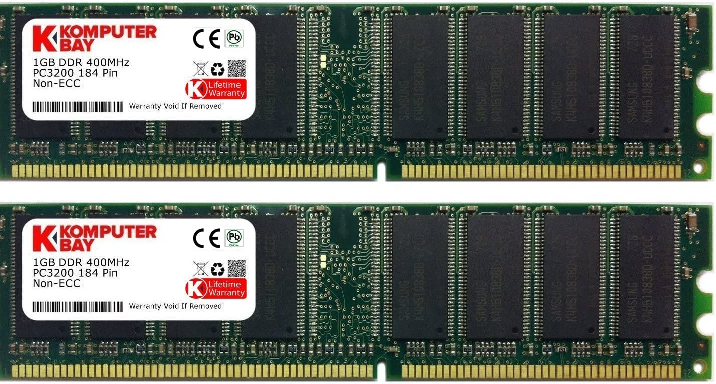 2GB KIT 2X1GB PC3200 DDR2 400MHZ 240 PIN LOW DENSITY RAM MEMORY
