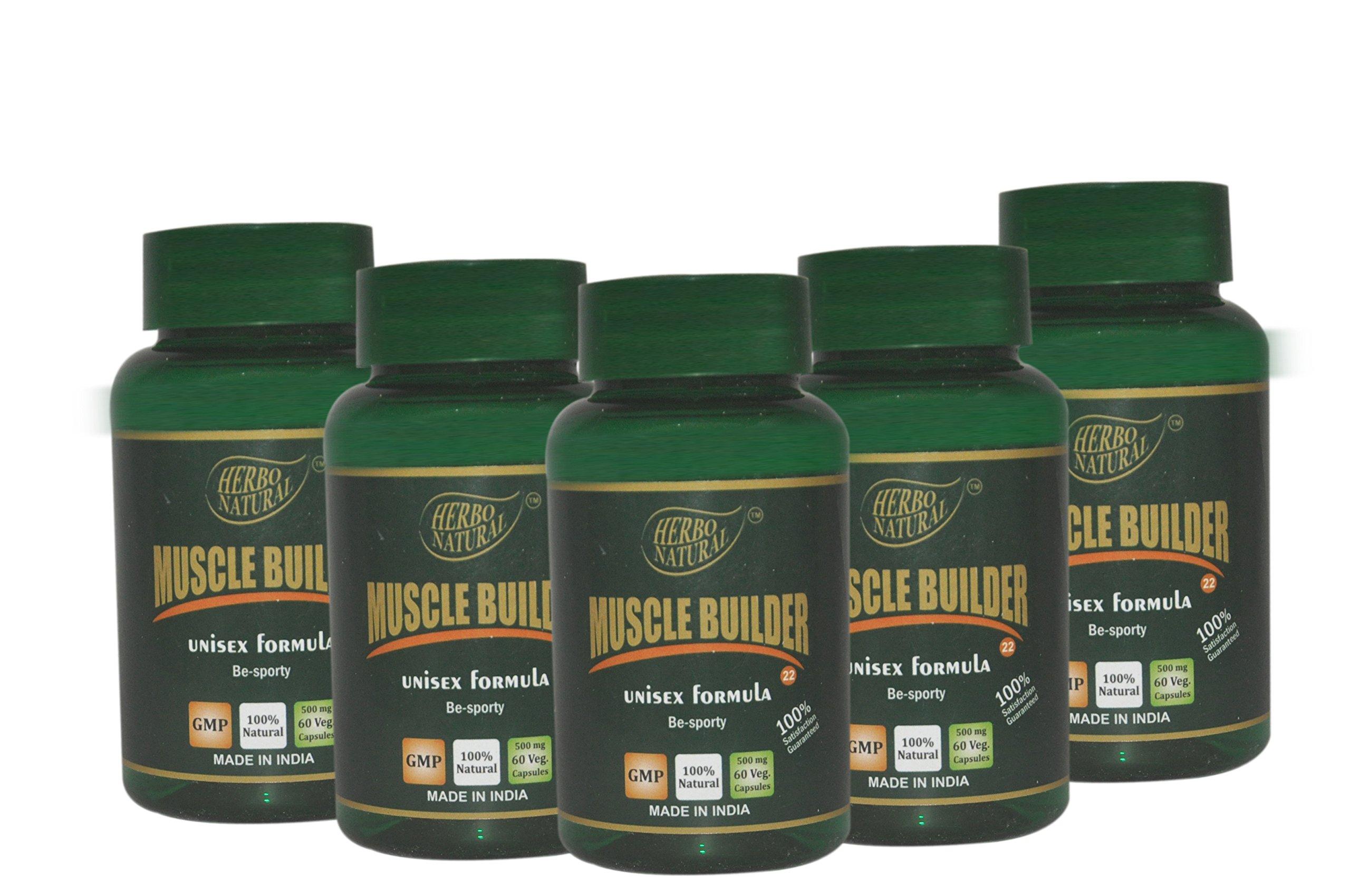 Herbo Natural Ayurvedic Muscle Builder Capsules-60 500mg Veg Cap (pack of 5)