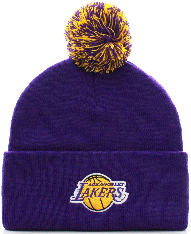 NBA Los Angeles Lakers Basketball Pom Pom Beanie Knit Hat Cap (Adult One Size, Purple)