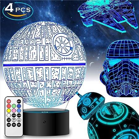 Star Wars Geschenke 3D Lampe für Männer - Star Wars Spielzeug Nachtlicht für Kinder,7 Farbwechsel mit Fernbedienung oder Touc