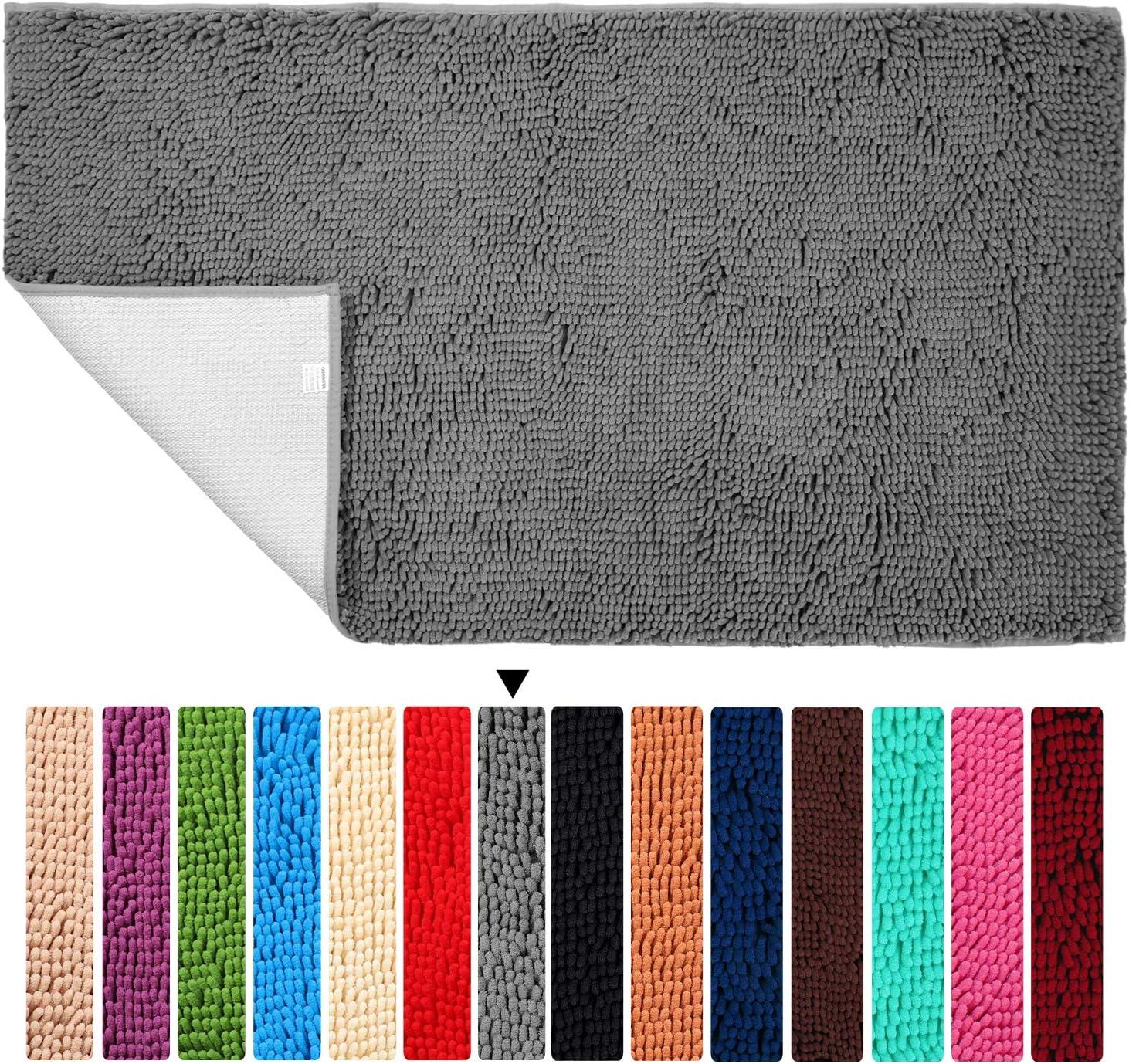 "Gray Bath Mat Runner 27.5""x 47"" Non Slip Rugs for Bathroom Floor ORANIFUL Microfiber Plush Kitchen Mat Super Water Absorbent Machine Wash/Dry Shaggy Toilet Carpet Extra Soft"