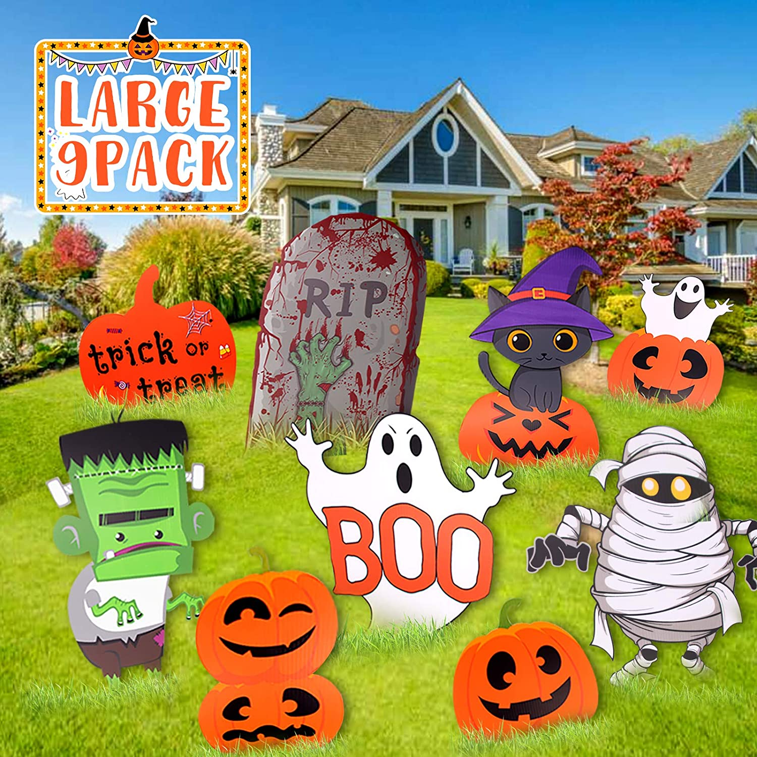 Large Friendly Halloween Yard//Lawn Decorations NIGHT-GRING Yard Signs for Halloween Props Decorations Outdoor 6 Pack Track-or-Treat Corrugate Yard Stake Signs Warning Yard Sign Stakes