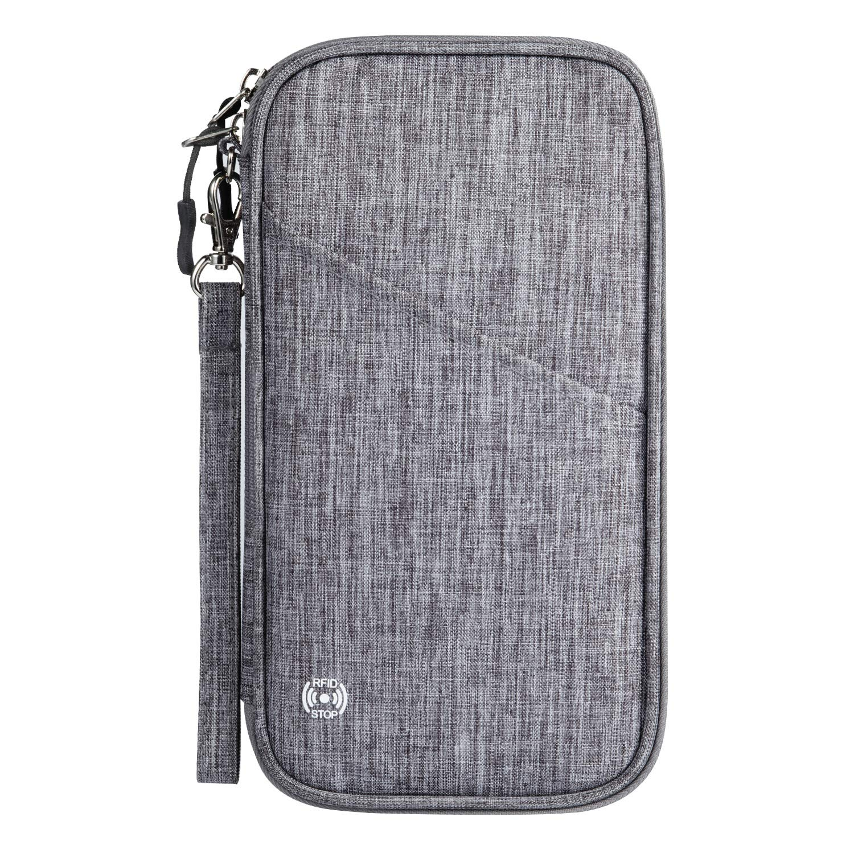 Vemingo Family Passport Holder with Accordion Design RFID - Blocking Travel Wallet Ticket Holder Document Organizer with Zipper for Women Men, Fits 4 Passports by Vemingo
