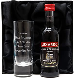 Engraved//Personalised Tall Shot Glass 3 Absolut Vodka Miniatures Set in Grey Presentation Gift Box