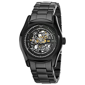 6ae76330d2bf Image Unavailable. Image not available for. Color  Emporio Armani Men s  AR1414 Ceramic Black Skeleton Dial Watch
