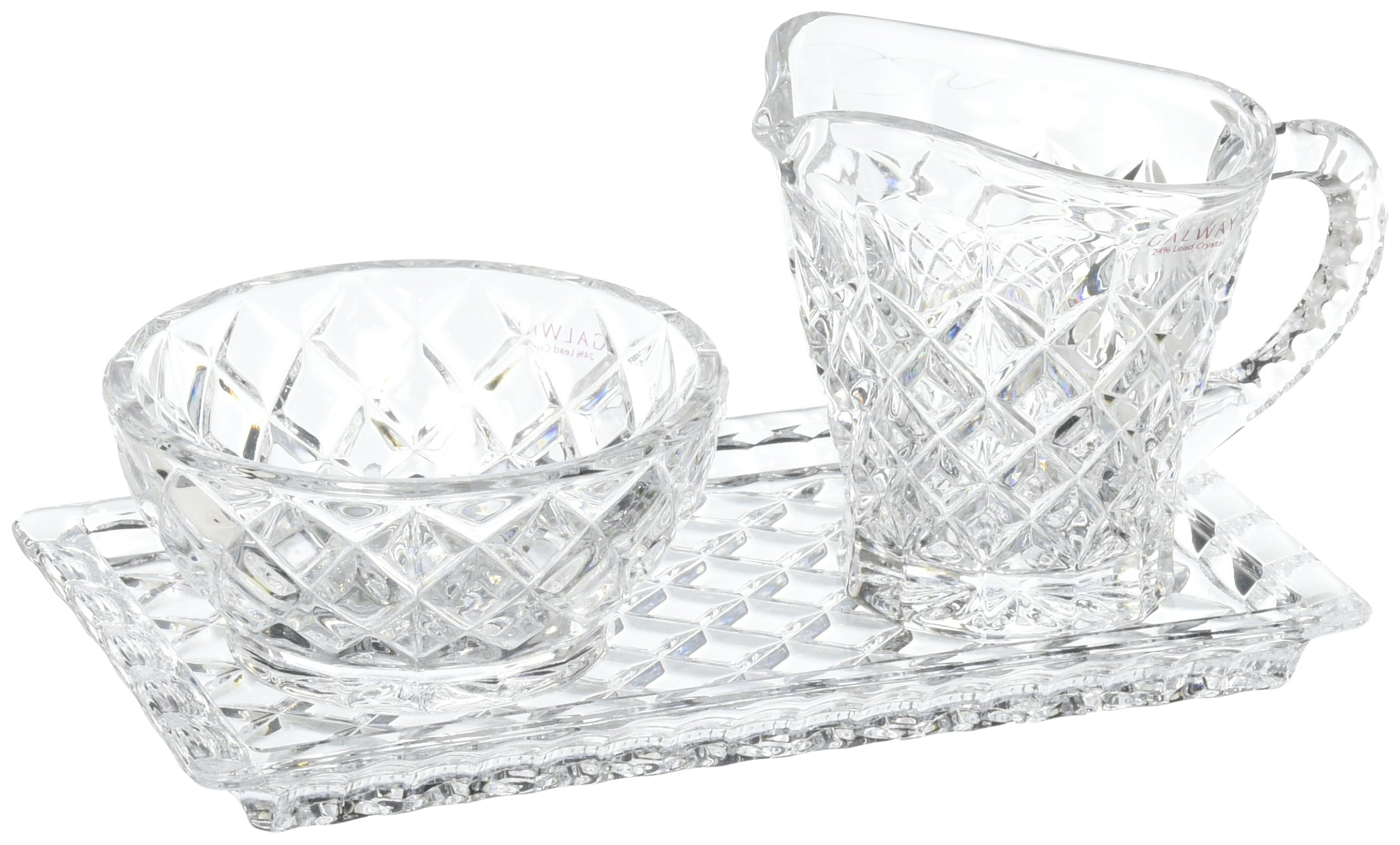 Belleek Pottery Galway Crystal Ashford Sugar Cream and Tray, 7.5-Inch, Clear, Set of 1 by Belleek Pottery