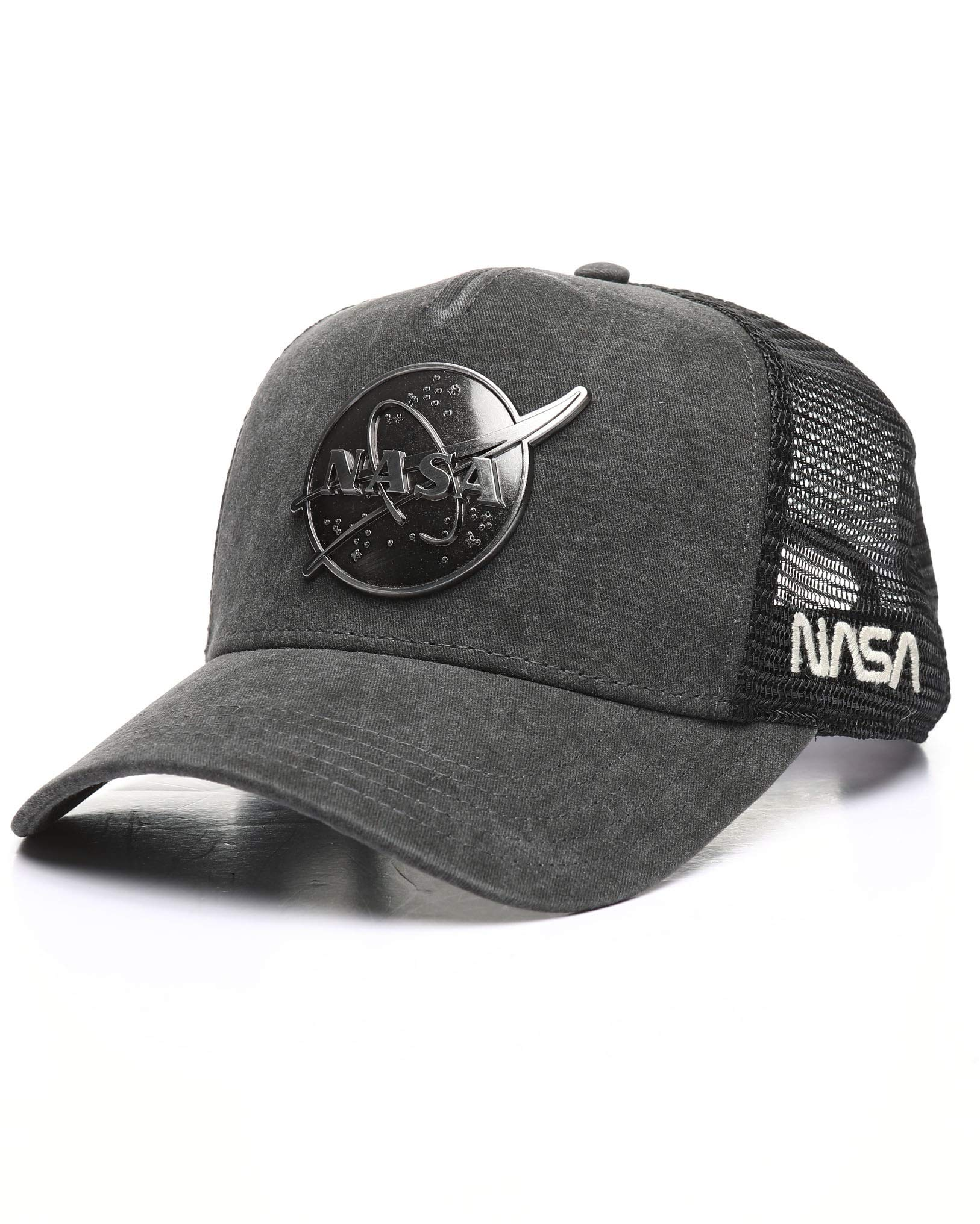 American Needle NASA Metal Head Mesh Back Adjustable Snapback Trucker Hat Black