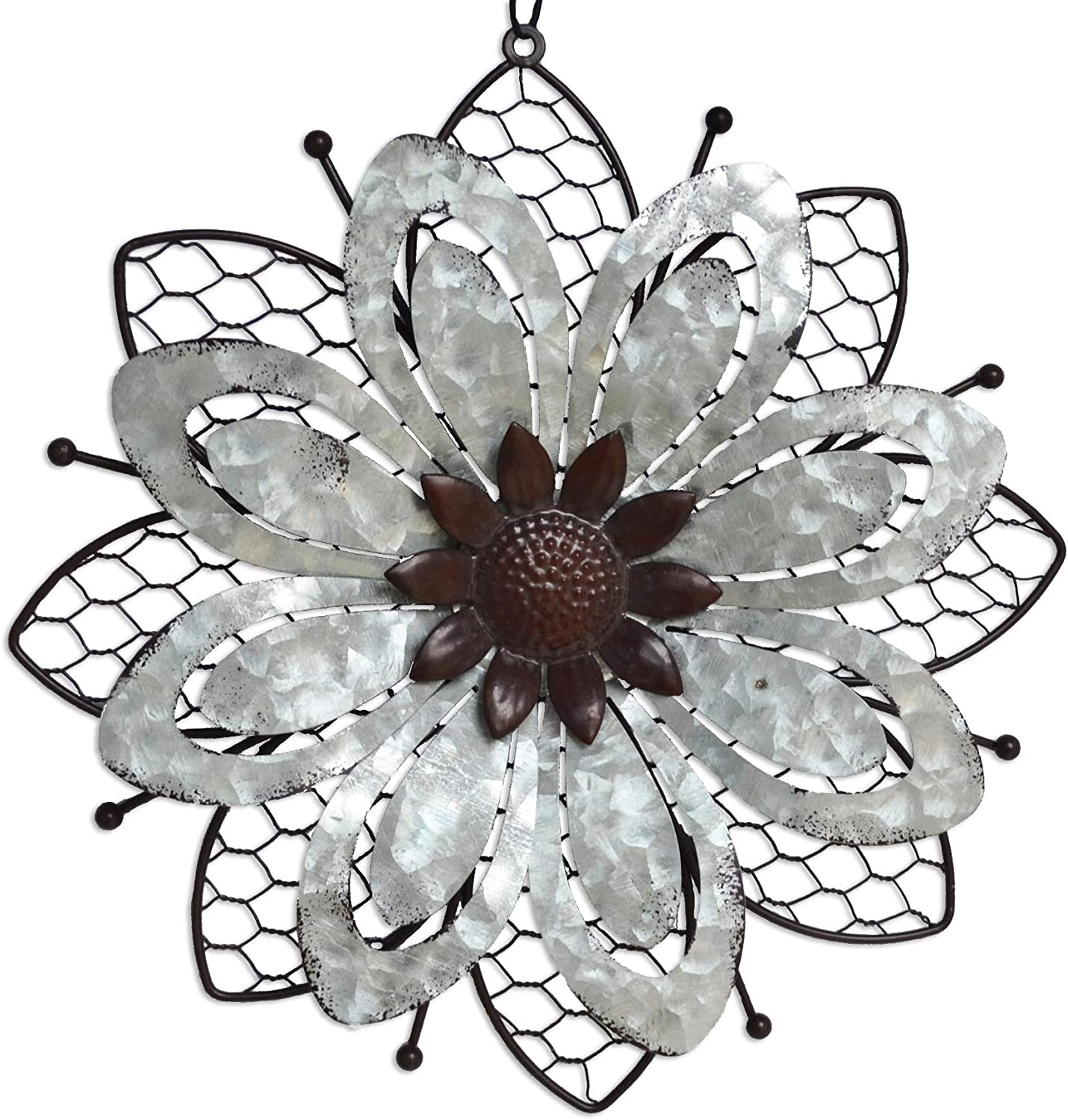 GIFTME 5 Galvanized Flower Wall Decor Indoor or Outdoor Metal Wall Art-1pc