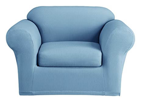 Gentil Sure Fit Stretch Seersucker 2 Piece   Chair Slipcover   Paradise Blue  (SF44942)