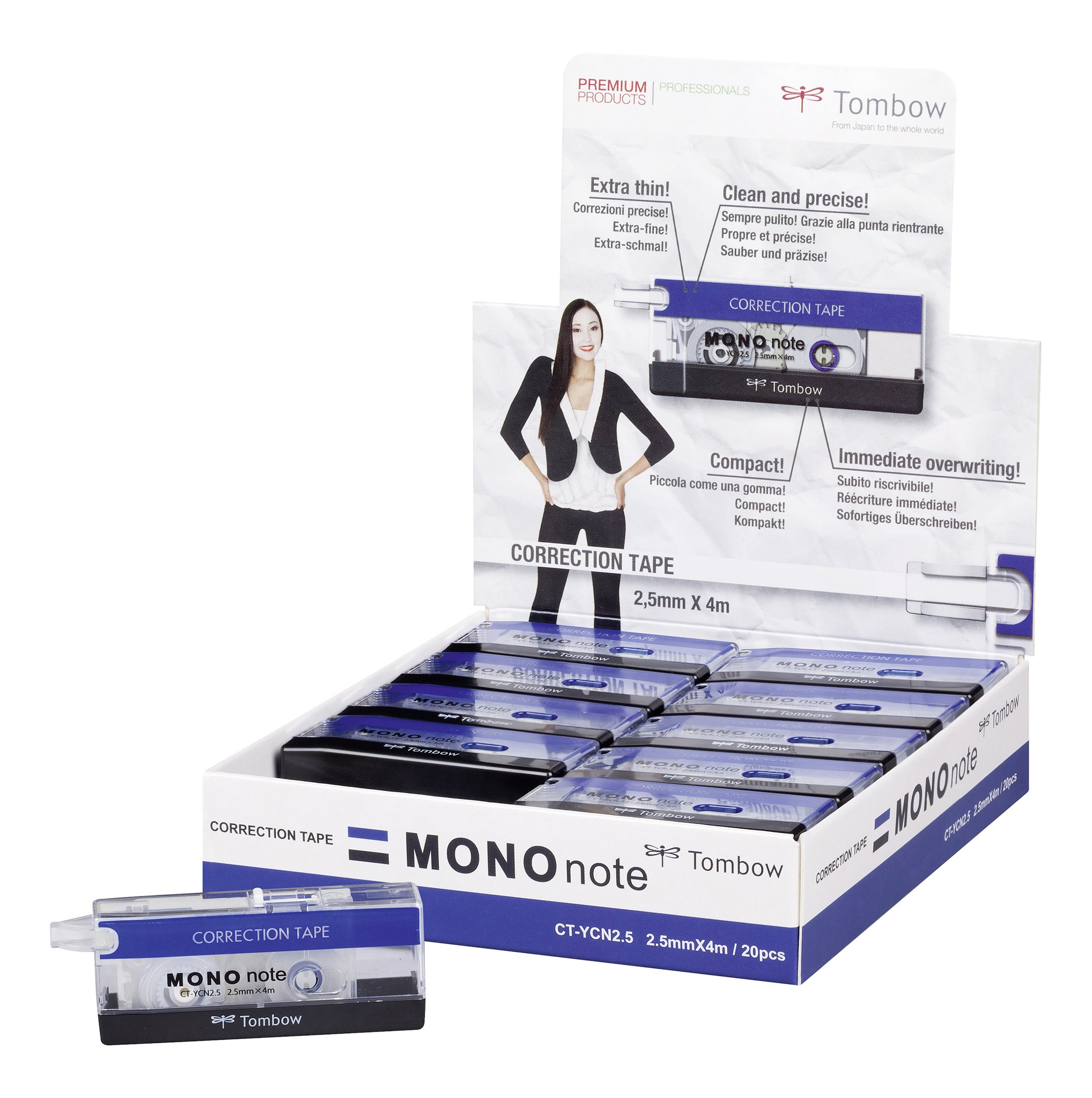 Tombow 2.5 mm x 4 m CT-Mono Correction Note Roll - Black/Blue/White (Pack of 20)