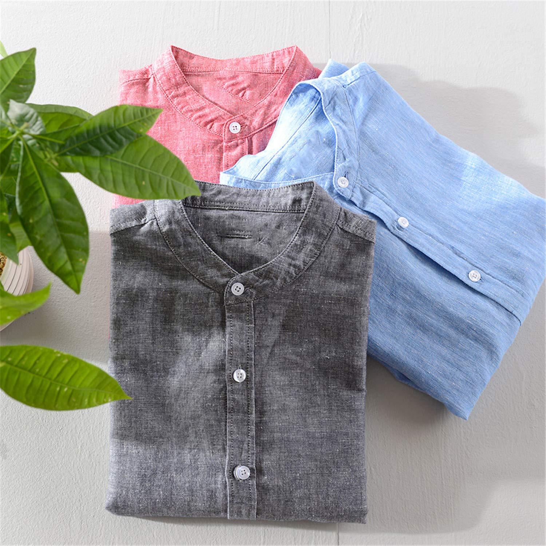 Long-Sleeved Linen Shirt Men Brand Susan1999-Ssyuqwbmenshirts Solid Cotton Men Shirt Casual Stand Collar Mens Shirts