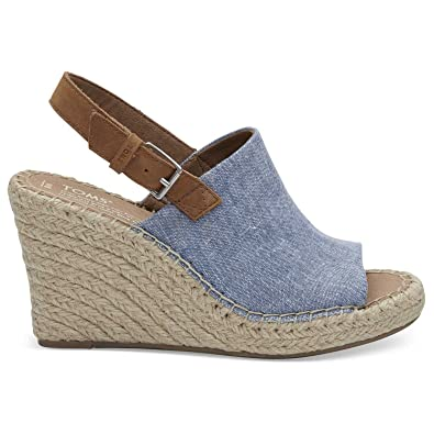 5b88a4b4131a TOMS Women s Blue Chambray Monica Wedges 10011845 (Size  ...