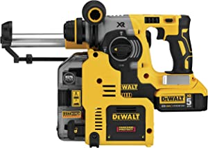 DEWALT 20V MAX XR Rotary Hammer, SDS Plus, L-Shape, On-Board Dust Extractor, 1-Inch (DCH273P2DHO)