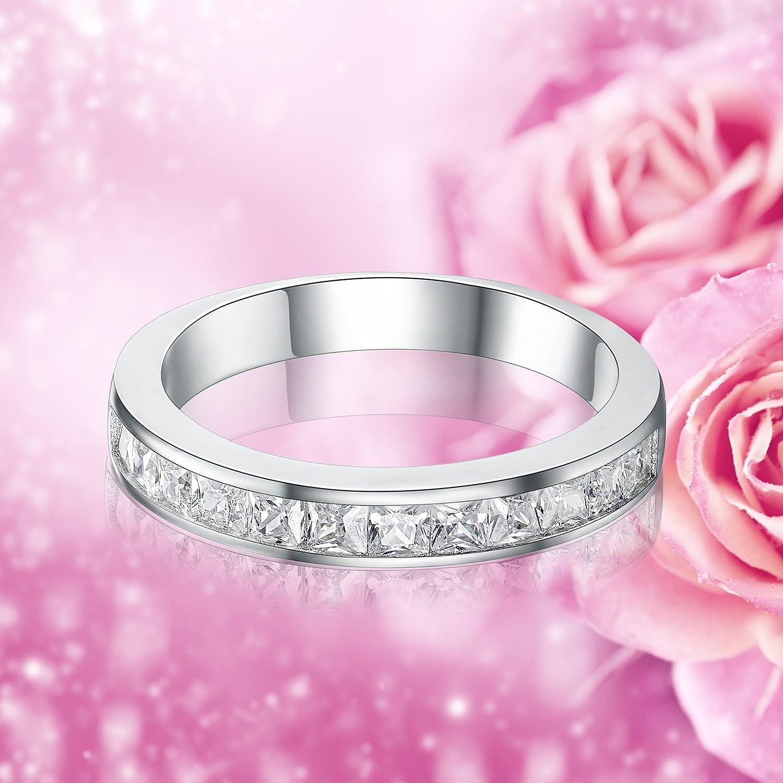 Amazon.com: Sreema London 2mm Cz Crystals Eternity Ring Style White ...