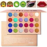 Glitter Eyeshadow Palettes,AFFLANO Shimmer Eye Shadow Palette Makeup Eye Glitter Highly Pigmented Eyeshadow Palette with Metallic Diamond Natural Bronze Smoky Eyeshadow Palettes(24 colours)