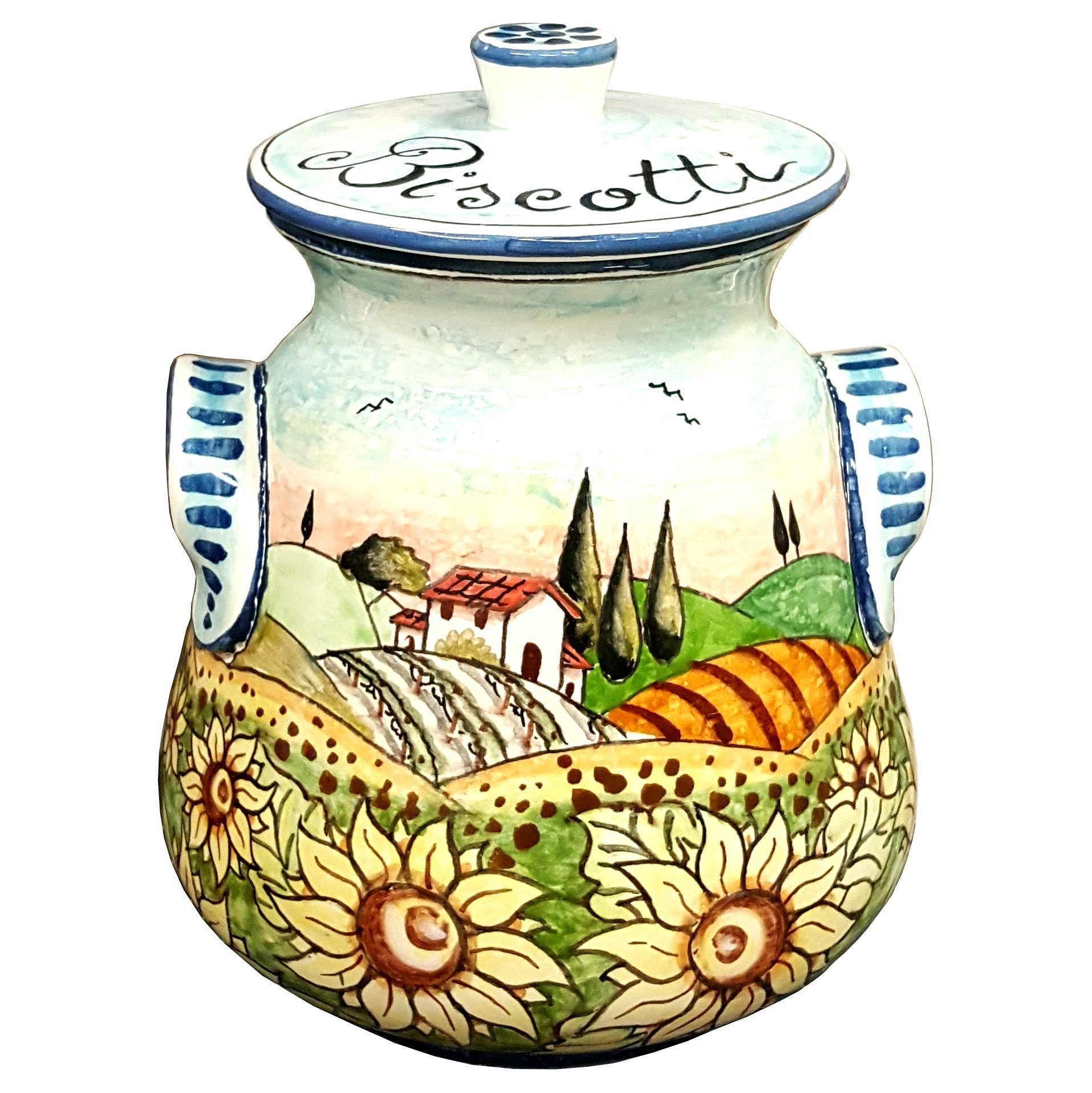 CERAMICHE D'ARTE PARRINI- Italian Ceramic Biscuit Cookies Jar Hand Painted Decorated Sunflowers Landscape Made in ITALY Tuscan Art Pottery by CERAMICHE D'ARTE PARRINI since 1979