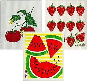 Wet-It! Swedish Dishcloth Set (Summer Foods)