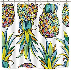 Riyidecor Tropical Fruit Pineapple Shower Curtain for Bathroom Decor Summer Green Leaves Blue and Yellow Art Printed Fabric Waterproof 72Wx72H 12 Pack Plastic Shower Hooks