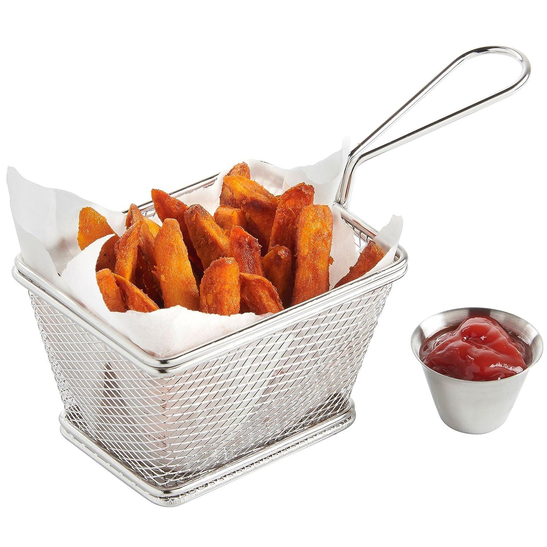 VonShef Set de 4 Mini Cestas de Acero Inoxidable para Servir Fritos con 4 x Boles para Freir Salsa: Amazon.es: Hogar