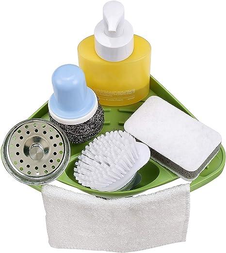 Attbee Kitchen Sink Caddy Sponge Holder Scratcher Holder Cleaning Brush Holder Sink Organizer Green Kitchen Dining