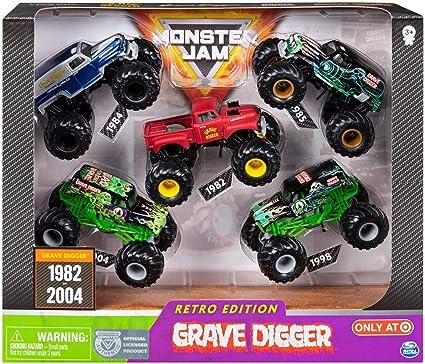 Amazon Com Mj Retro Edition Grave Digger Monster Jam True Metal 5 Trucks 1 64 1982 2005 Exclusive Toys Games