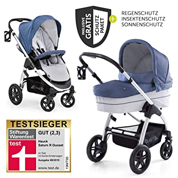 Hauck 10-teiliges Kinderwagen-Set 2in1 Saturn R Duoset Lunar Stone Buggy und Zubeh/örpaket Babywanne inkl Kombikinderwagen ab Geburt bis 25 kg