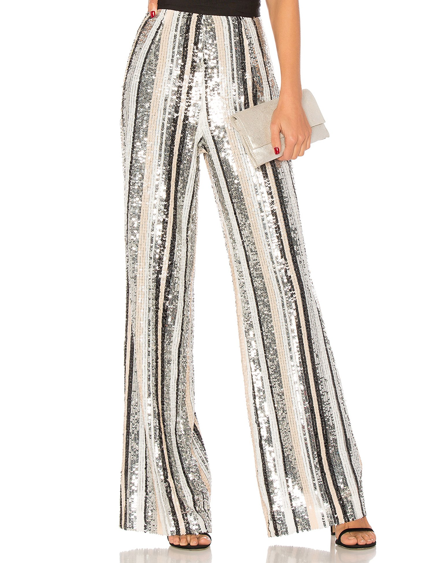 celeblink Women's Sequin Wide Leg Palazzo Pants with Fold Over Waist Band (Multicoloured, L)