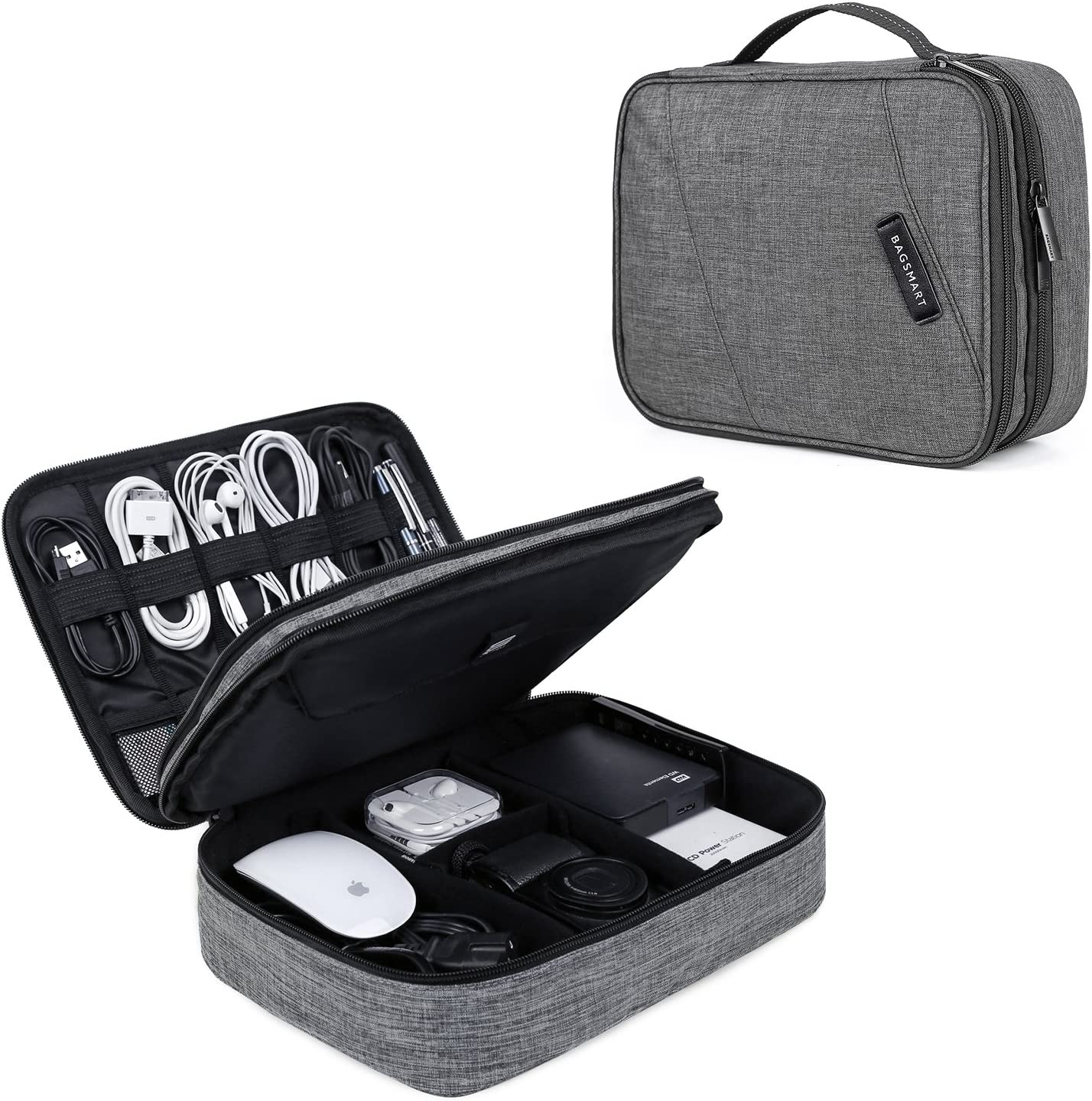 BAGSMART Electronic Organizer Double Layer Travel Cable Organizer Cases Electronics Accessories Storage Bag for 10.5 Inch iPad Pro, iPad air, Cables, Kindle, Grey