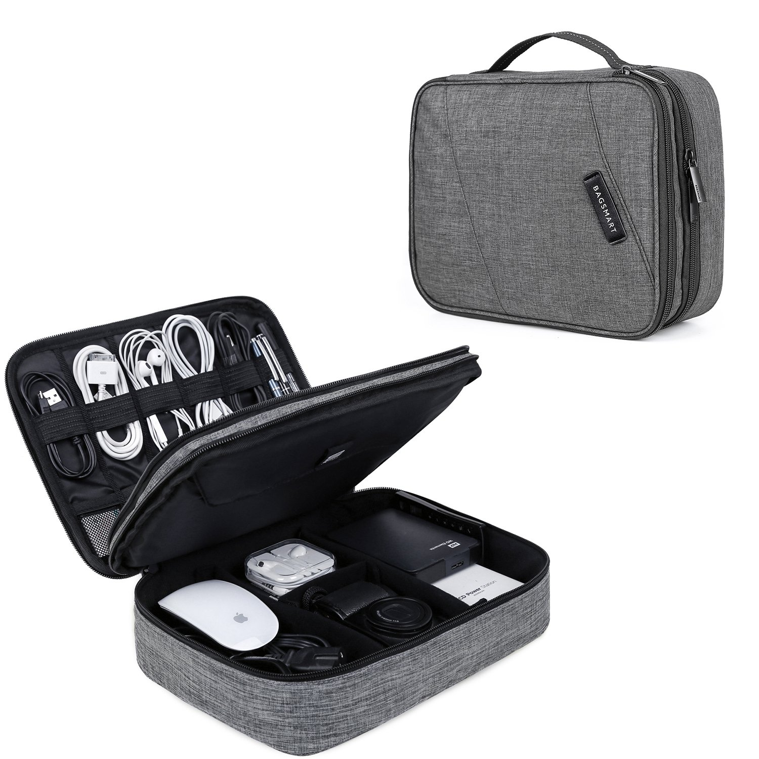 BAGSMART Double Layer Travel Universal Cable Organizer Cases Electronics Accessories Storage Bag for 10.5'' iPad Pro, iPad air, Charger, Kindle, Grey