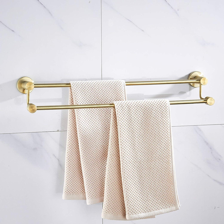 Double Towel Bar Bath Dual Towel Rod Heavy Duty Stainless Steel Holder Wall Mount Shelf Organizer Cloth Hanger Gold Bronze Brushed Bonway Industry