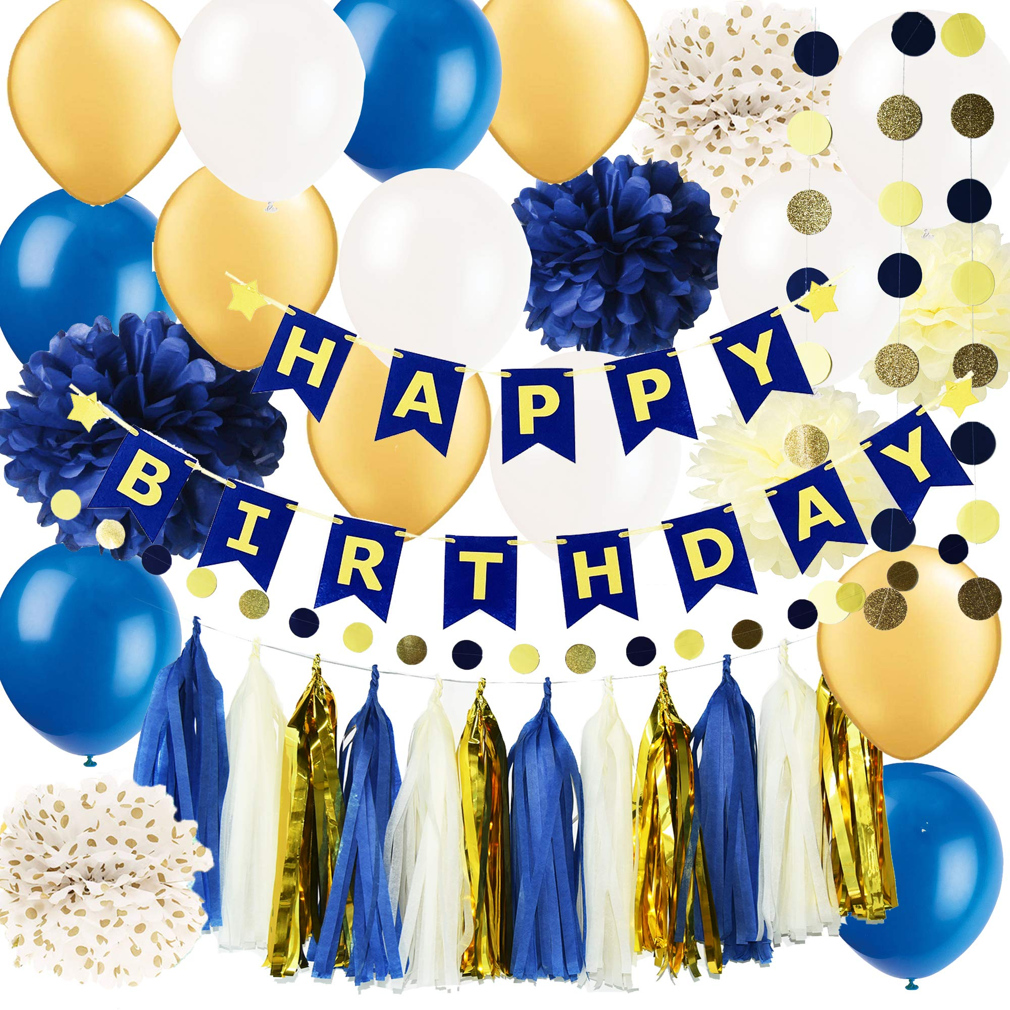Royal Pince Birthday Party Decorations/Navy Gold Happy Birthday Banner Latex Ballons Polka Dot Tissue Poms for Navy and Gold Birthday Banner, Happy Birthday, 50th Birthday, Adult Birthday