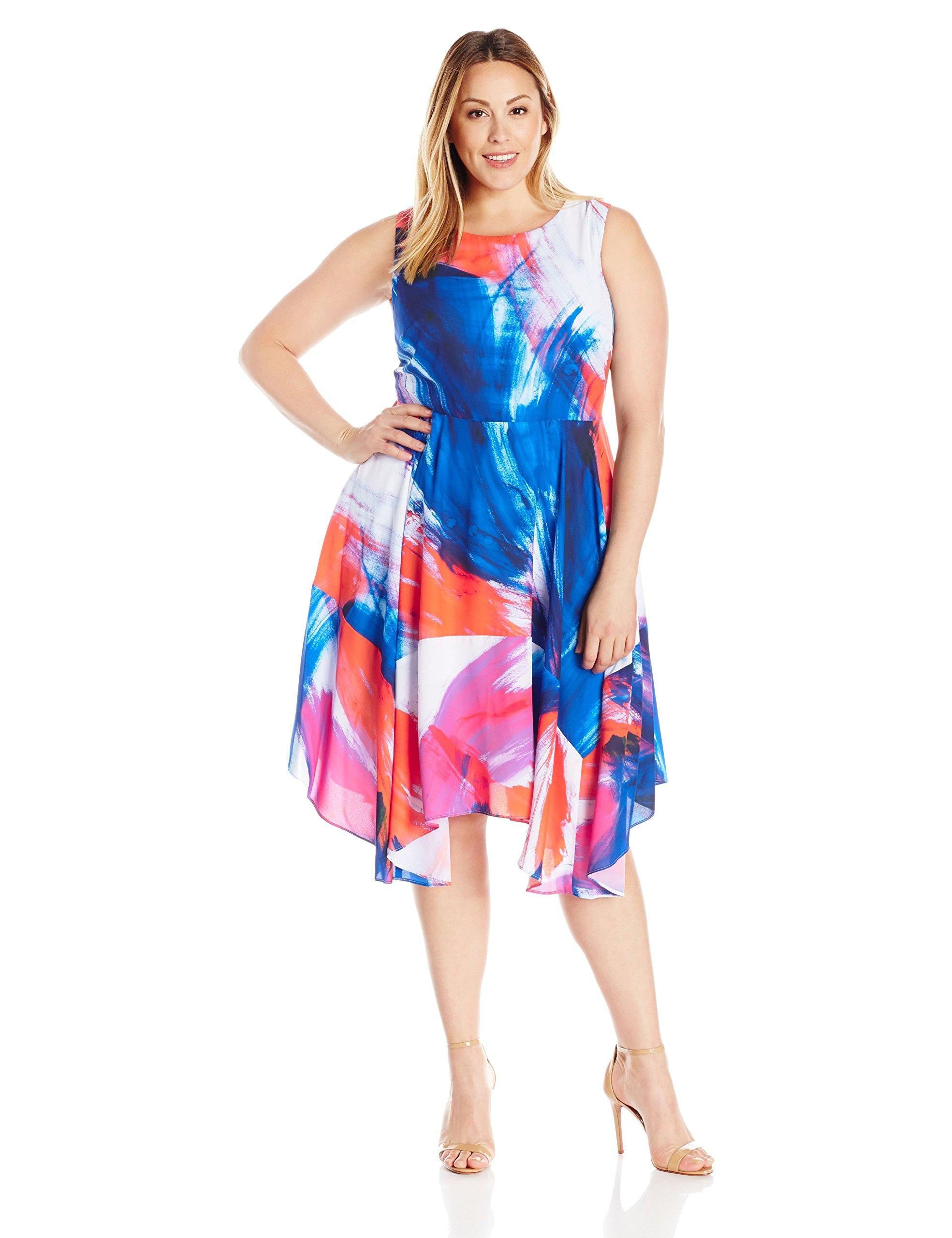 Julia Jordan Women's Plus Size Floral Fit and Flare Midi Dress, Blue/Orange, 24W
