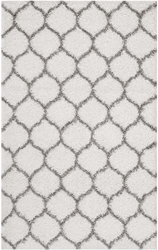 Modway Solvea Moroccan Trellis 8×10 High Pile Shag Area Rug With Lattice Design In Ivory and Navy