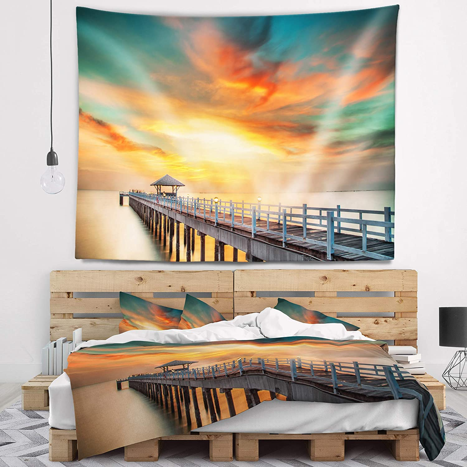 Designart TAP10576-80-68  Wooden Colorful Sky Sea Bridge Blanket D/écor Art for Home and Office Wall Tapestry x Large Created On Lightweight Polyester Fabric 80 in x 68 in