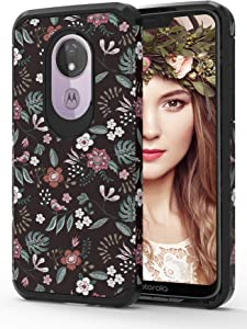 ShinyMax Moto G7 Power Case,Moto G7 Supra Case, Hybrid Dual Layer Armor Protective Cover Anti-Scratch Shockproof Case with Flowers Design Compatible with Motorola G7 Power Phone(Floral)