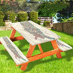 Lyzelre World Map Picnic Table and Bench Fitted Tablecloth Cover,America with Retro Design Elastic Edge Fitted Tablecloth,28 x 72 Inch, 3-Piece Set for Camping, Dining, Outdoor, Park, Patio