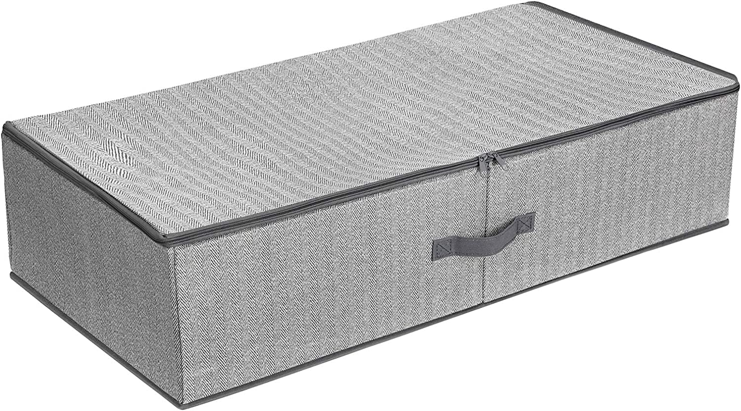 SONGMICS Underbed Storage Bag, Storage Boxes Under Bed with Adjustable Divider, Foldable Wardrobe Organizer, Above Wardrobe, for Clothes Sheets Blankets, 32.3 x 16.5 x 7.9 Inches, Gray URUB01G