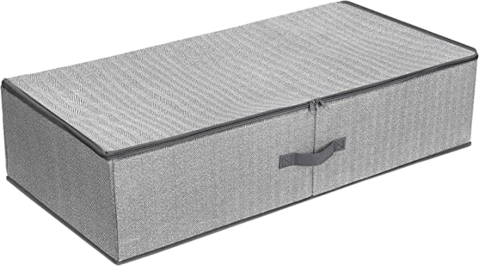 SONGMICS Bolsa de Almacenaje Debajo de la Cama, Caja de Almacenaje Debajo de la Cama con Divisor Ajustable, Organizador de Armario Plegable, 82 x 42 x 20 cm, Gris RUB01G: Amazon.es: Hogar