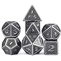 DNDND Dragon Scale Metal Dice Set, 7 Pieces Polyhedral Metallic Die with Velvet Pouch for Dungeons and Dragons D&D…